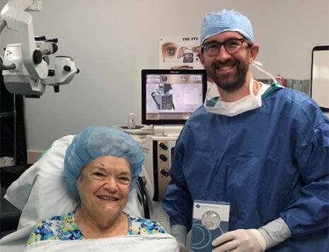 Dr. Glaser with a PanOptix Trifocal Lens Implant Patient