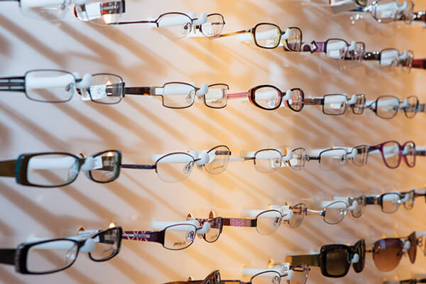 Eyewear frames in optical shop